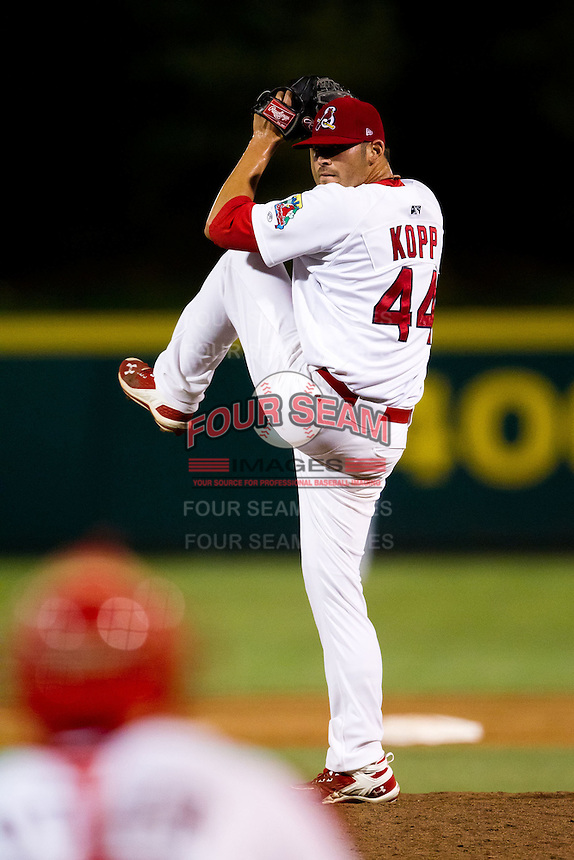 David Kopp (44) of the Springfield Cardinals winds up during a game against the Tulsa Drillers at Hammons Field on July 18, 2011 in Springfield, Missouri. Tulsa defeated Springfield 13-8. (David Welker / Four Seam Images)