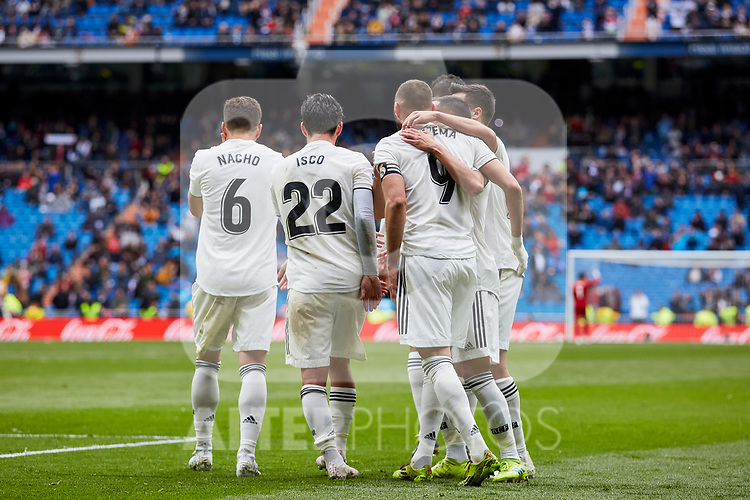 Real Madrid's players celebrate goal during La Liga match between Real Madrid and SD Eibar at Santiago Bernabeu Stadium in Madrid, Spain.April 06, 2019. (ALTERPHOTOS/A. Perez Meca)