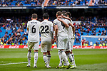 Real Madrid's players celebrate goal during La Liga match between Real Madrid and SD Eibar at Santiago Bernabeu Stadium in Madrid, Spain.April 06, 2019. (ALTERPHOTOS/A. Perez Meca)
