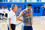 Conversation between Sergio Scariolo (l) and Jaime Fernandez (r) during the training of Spanish National Team of Basketball in Madrid previous to World Cup in China . August 21, 2019. (ALTERPHOTOS/Francis González)