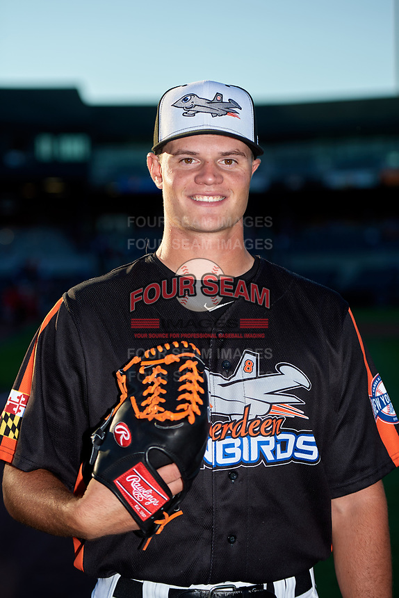 Aberdeen IronBirds pitcher Kevin Magee (39) poses for a photo before a game against the Staten Island Yankees on August 23, 2018 at Leidos Field at Ripken Stadium in Aberdeen, Maryland.  Aberdeen defeated Staten Island 6-2.  (Mike Janes/Four Seam Images)
