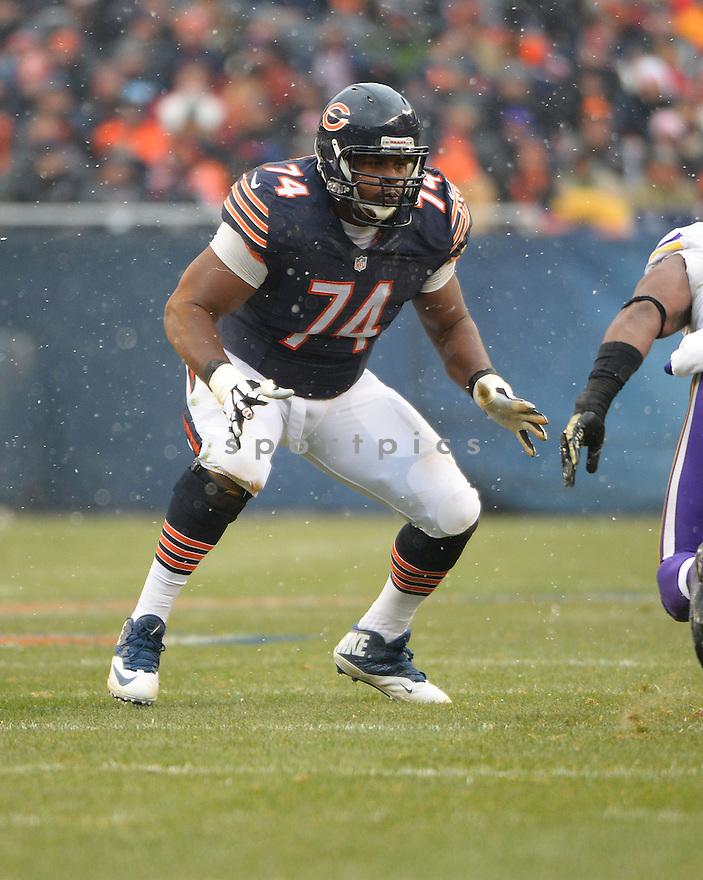 Chicago Bears Jermon Bushrod (74) during a game against the Minnesota Vikings on November 16, 2014 at Soldier Field in Chicago, IL. The Bears beat the Vikings 21-13.