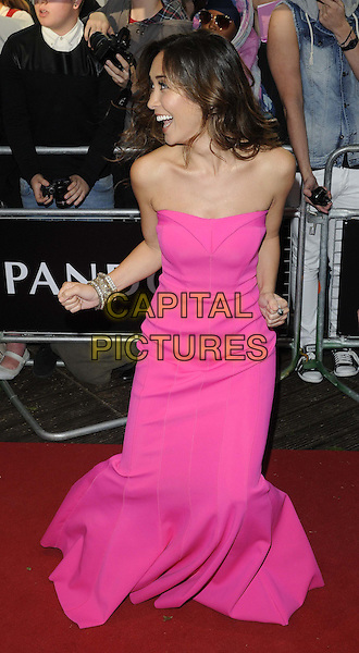 Myleene Klass<br /> The Glamour Women Of The Year Awards 2013, Berkeley Square Gardens, London, England.<br /> June 4th, 2013<br /> full length pink strapless dress hands profile crouching bending funny smiling <br /> CAP/CAN<br /> &copy;Can Nguyen/Capital Pictures