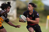 Jackson Orr attacks down the left wing for Onewhero. Counties Manukau Premier Club rugby game between Te Kauwhata and Onewhero, played at Te Kauwhata on Saturday April 16th 2016. Onewhero won the game 37 - 0 after leading 13 - 0 at Halftime. Photo by Richard Spranger.