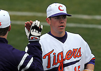Clemson righthander Graham Stoneburner is congratulated by a teammate after a scoreless inning in a game between the Mercer Bears and Clemson Tigers at Doug Kingsmore Stadium on Feb. 24, 2008, in Clemson, S.C. Clemson won 10-3. Photo by:  Tom Priddy/Four Seam Images