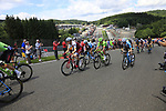The peloton climb Eau Rouge on the famous Spa-Francorchamps Motor Circuit during Stage 3 of the 104th edition of the Tour de France 2017, running 212.5km from Verviers, Belgium to Longwy, France. 3rd July 2017.<br /> Picture: Eoin Clarke   Cyclefile<br /> <br /> All photos usage must carry mandatory copyright credit (&copy; Cyclefile   Eoin Clarke)