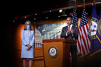 United States Representative Hakeem Jeffries (Democrat of New York), right, joined by United States Representative Katherine Clark (Democrat of Massachusetts), speaks during a news conference at the United States Capitol in Washington D.C., U.S., on Monday, June 29, 2020.  Credit: Stefani Reynolds / CNP /MediaPunch