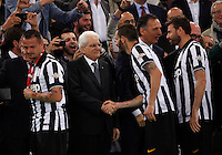 Calcio, finale Tim Cup: Juventus vs Lazio. Roma, stadio Olimpico, 20 maggio 2015.<br /> From left, Juventus' Simone Pepe, Leonardo Bonucci and Andrea Barzagli greet Italian President at the end of the Italian Cup final football match between Juventus and Lazio at Rome's Olympic stadium, 20 May 2015. Juventus won 2-1 after extra time.<br /> UPDATE IMAGES PRESS/Isabella Bonotto