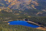 The deep blue water of Echo Lake in autumn, seen from above along the Mt Evans Rd, Rocky Mountains, Colorado, USA