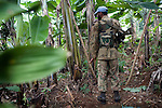 A UN peace keeper in the forest near a village in the Kaniola area, eastern Congo.  In recent months they have stepped up their patrols looking for the Rasta's in the forest.<br />