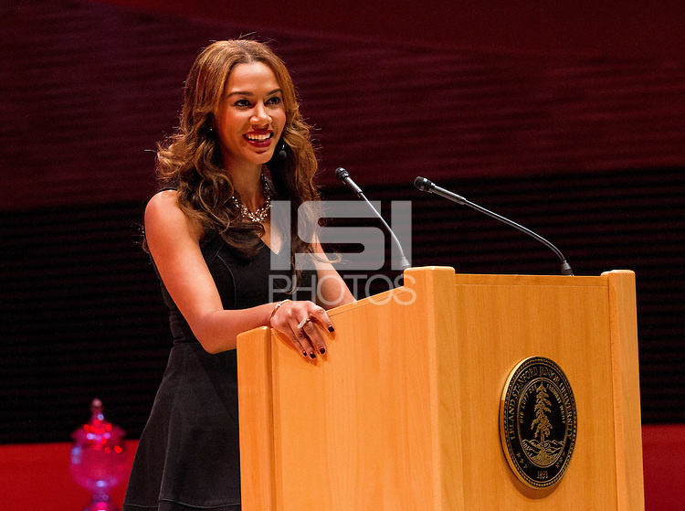 STANFORD, CA - OCTOBER 16, 2015-- A Rosalyn Gold-Onwude, the master of ceremonies  at the 2015 Stanford Athletics Hall of Fame Induction Ceremony at the Bing Concert Hall .