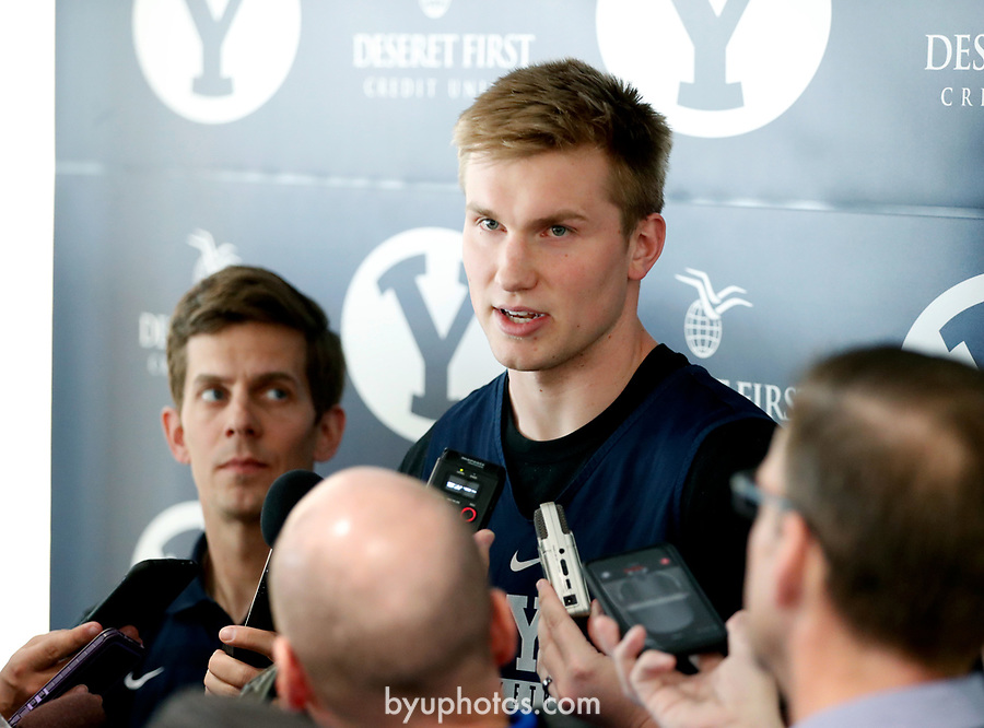 16-17mBKB Eric Mika Press Conf 051<br /> <br /> 16-17mBKB Eric Mika Press Conference<br /> <br /> BYU Basketball's Eric Mika holds a press conference to announce that he will declare for the NBA draft.<br /> <br /> March 22, 2017<br /> <br /> Photo by Jaren Wilkey/BYU<br /> <br /> &copy; BYU PHOTO 2017<br /> All Rights Reserved<br /> photo@byu.edu  (801)422-7322