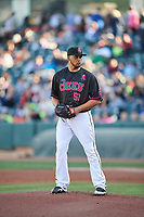 Salt Lake Bees starting pitcher Vicente Campos (53) looks for the sign against the Iowa Cubs in Pacific Coast League action at Smith's Ballpark on May 13, 2017 in Salt Lake City, Utah. Salt Lake defeated Iowa  5-4. (Stephen Smith/Four Seam Images)