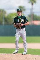Oakland Athletics starting pitcher Chris Bassitt (58) gets ready to deliver a pitch during an exhibition game against Team Italy at Lew Wolff Training Complex on October 3, 2018 in Mesa, Arizona. (Zachary Lucy/Four Seam Images)