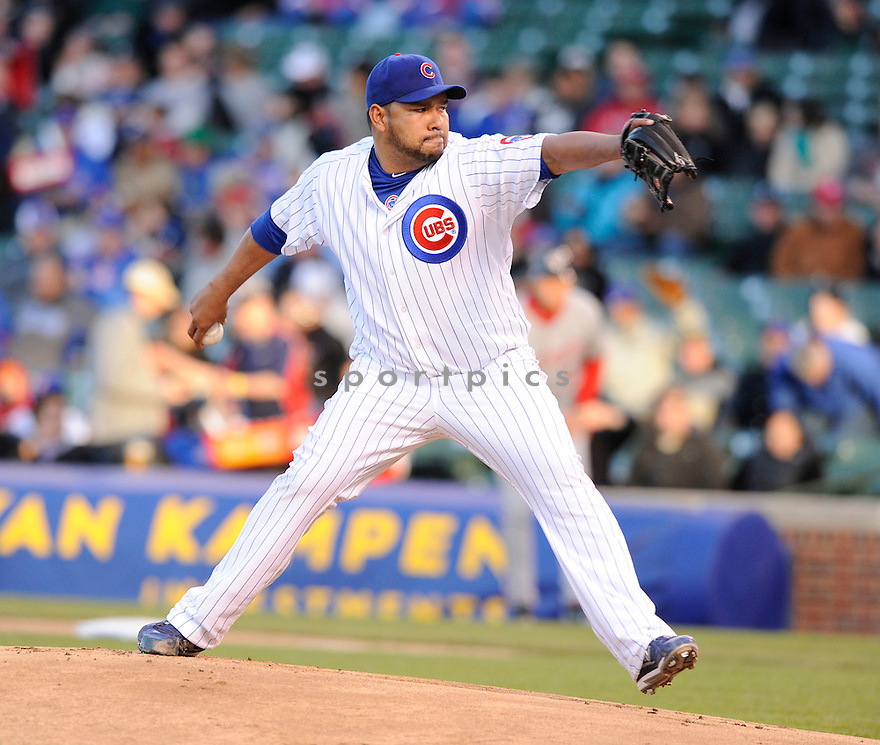 CARLOS SILVA, of the Chicago Cubs, in action during the Cubs game against the Washington Nationals at  Wrigley Field in Chicago, IL  on April 26, 2010...The Cubs  win 4-3.