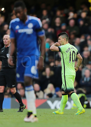 16.04.2016. Stamford Bridge, London, England. Barclays Premier League. Chelsea versus Manchester City. Manchester City Forward Sergio Agüero kisses his ring finger after scoring from the penalty spot to make it 3-0 Man City, putting him on a hat-trick