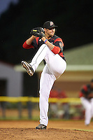 Batavia Muckdogs relief pitcher Chevis Hoover (16) delivers a pitch during a game against the State College Spikes on June 24, 2016 at Dwyer Stadium in Batavia, New York.  State College defeated Batavia 10-3.  (Mike Janes/Four Seam Images)