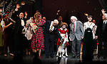 Clarke Thorell, Anthony Warlow, Katie Finneran, Charles Strouse, Lilla Crawford, Sunny, Thomas Meehan, Brynn O'Malley & Martin Charnin during the Broadway Opening Night Performance Curtain Call for 'Annie' at the Palace Theatre in New York City on 11/08/2012