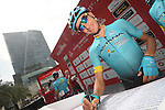 Fabio Aru (ITA) Astana Pro Team at sign on before the start of Stage 2 the Nation Towers Stage of the 2017 Abu Dhabi Tour, running 153km around the city of Abu Dhabi, Abu Dhabi. 24th February 2017<br /> Picture: ANSA/Claudio Peri | Newsfile<br /> <br /> <br /> All photos usage must carry mandatory copyright credit (&copy; Newsfile | ANSA)