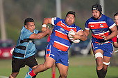 Feta Luamanu gets shunted sideways by Matuu Neueli. Counties Manukau Premier Club Rugby game between Ardmore Marist and Weymouth, played at Bruce Pulman Park on May 14th 2016. Ardmore Marist won the game 43 - 7 after leading 17 - 0 at halftime. Photo by Richard Spranger.