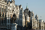 View along Whitehall with statue of King Charles 1st on horseback in the foreground, London, England