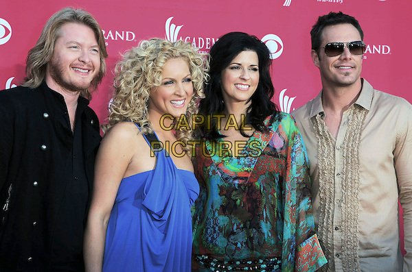 PHILLIPS SWEET, KIMBERLY ROADS SCHLAPMAN, KAREN FAIRCHILD & JIMI WESTBROOK of Little Big Town.The 43rd Annual Academy of Country Music Awards (ACM) held at MGM Grand Garden Arena, Las Vegas, Nevada, USA..May 18th, 2008.half length blue green beige ruffled ruffles black shirt sunglasses  shades .CAP/ADM/MJT.© MJT/AdMedia/Capital Pictures.