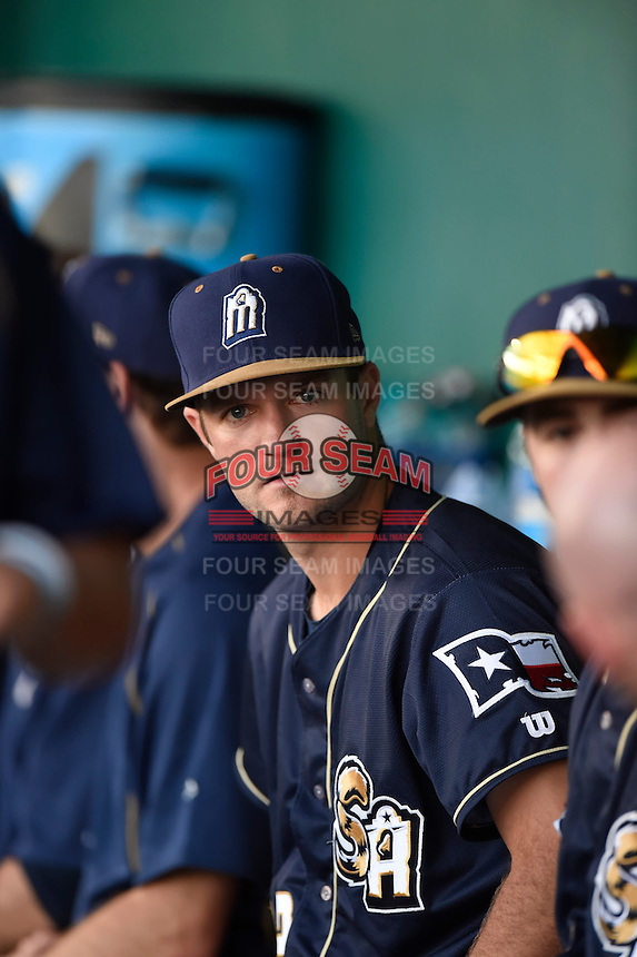 ***Temporary Unedited Reference File***San Antonio Missions catcher Ryan Miller (22) during a game against the Midland RockHounds on April 21, 2016 at Nelson W. Wolff Municipal Stadium in San Antonio, Texas.  Midland defeated San Antonio 9-2.  (Mike Janes/Four Seam Images)