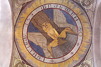 Man, symbolizing Matthew the Apostle, painted cupola of the nave, by Raymond Feuillatte, 20th century, Nanterre Cathedral (Cathédrale Sainte-Geneviève-et-Saint-Maurice de Nanterre), 1924 - 1937, by architects Georges Pradelle and Yves-Marie Froidevaux, Nanterre, Hauts-de-Seine, France. Picture by Manuel Cohen