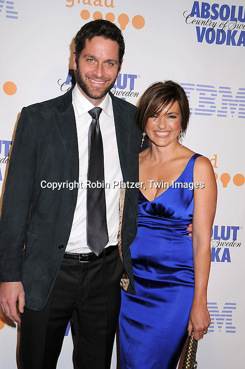 Peter Hermann and wife Mariska Hargitay in David Meister dress..posing for photographers at the 19th Annual GLAAD Media Awards on March 17, 2008 at The Marriott Marquis Hotel in New York City. ..Robin Platzer, Twin Images