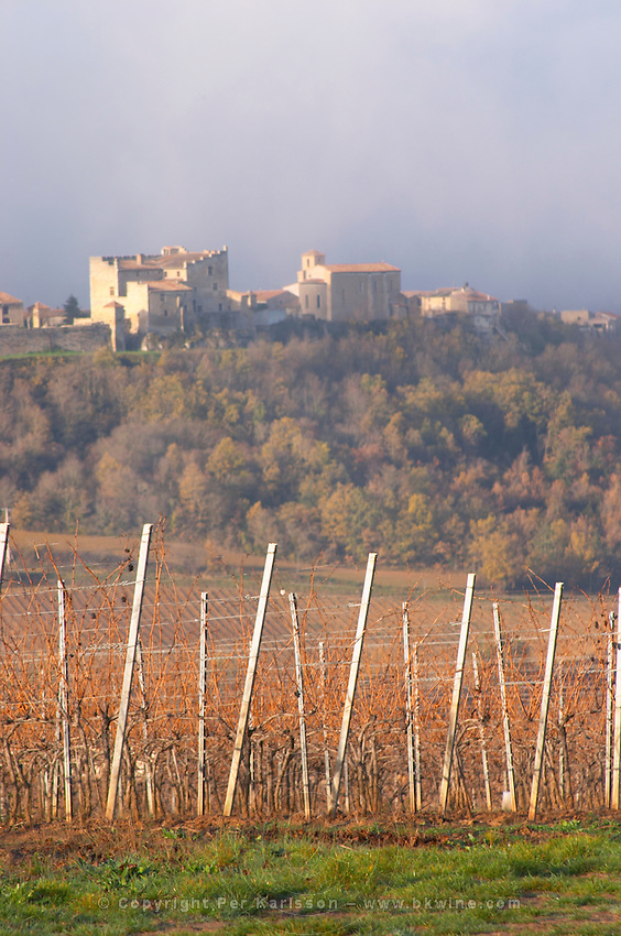 View over Roquetaillade village in morning mist clouds. Domaine Jean Louis Denois. Limoux. Languedoc. Young vines. An early winter morning with mist still laying low and sunshine glowing golden. France. Europe. Vineyard.