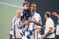 Real Madrid Danilo Luiz Da Silva with son during the celebration of the 12th UEFA Championship won by Real Madrid  at Santiago Bernabeu Stadium in Madrid, June 04, 2017. Spain.<br /> Foto ALTERPHOTOS/BorjaB.Hojas/Insidefoto