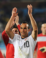 Landon Donovan acknowledges crowd following U.S. win.The United States won Group C of the 2010 FIFA World Cup in dramatic fashion, 1-0, over Algeria in Pretoria's Loftus Versfeld Stadium, Wednesday, June 23rd..