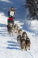 Anna Berington on Long Lake at the Re-Start of the 2012 Iditarod Sled Dog Race