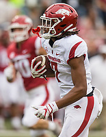 Hawgs Illustrated/BEN GOFF <br /> Trey Knox, Arkansas wide receiver, runs for a touchdown after a catch in the second quarter Saturday, April 6, 2019, during the Arkansas Red-White game at Reynolds Razorback Stadium.