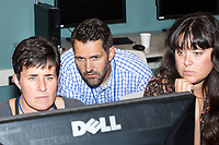 Sarah Hugenberger, of Arlington, Mass., (from left), Doug Spencer, of Hartford, Conn., and Rosemary Fasselin, of Salt Lake City, Utah, work on a project at the Metric Geometry and Gerrymandering Group (MGGG) hackathon at the Data Lab in the Tisch Library at Tufts University in Medford, Massachusetts, USA, on Thurs., Aug. 10, 2017.  Hugenberger is a Masters student in Geographic Information Systems at Salem State University. Spencer is a Professor of Law at the University of Connecticut. Fasselin is a GIS coordinator at the Wasatch Front Waste and Recycling District. The group was working on a tool to computationally determine whether a voting district had racially polarized voting during an election. The hackathon is part of the first in a series of Geometry of Redistricting workshops put on by the MGGG. Academics, Geographic Information Systems (GIS) professionals, and legal professionals worked together to build tools useful in analyzing voting district data around the country.