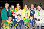 Welcoming Kerry Captain Darran O'Sullivan and Aidan O'Shea to Glenbeigh with Sam Maguire on Tuesday night front row l-r: Brendan O'Shea, Bridget Gray, Gearoid Hassett, Eoghan Hassett. Back row: John Gray, Aine Hassett, Angela O'Shea, Bridie, Mike and Bridget Hassett