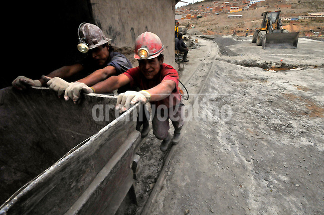 Miners in Kunti  mining ccooperative in Cerro Rico moutain, Potosi, Bolivia. The mine have been exploted since Spanish crown rule times to extract silver, but now rewards miners just with tin and zinc. The fall of international metal prices brings the mine near a collapse.