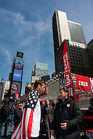 Jimmy Conrad interviews former men's national team player Tab Ramos (right) during the centennial celebration of U. S. Soccer at Times Square in New York, NY, on April 04, 2013.