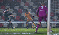 Jennison Myrie-Williams of Newport County controls the ball during the abandoned Sky Bet League 2 match between Newport County and Morecambe at Rodney Parade, Newport, Wales on 10 December 2016. Photo by Mark  Hawkins.