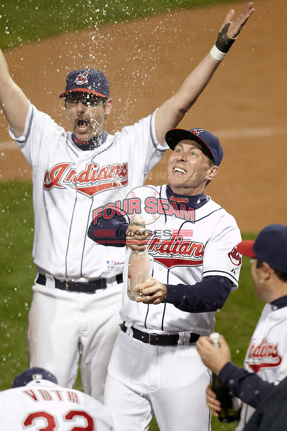 Cleveland Indians Fantasy Camp members celebrate winning the championship game at Goodyear Stadium on January 19, 2012 in Goodyear, Arizona.  (Mike Janes/Four Seam Images)