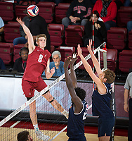 STANFORD, CA - March 14, 2019: Leo Henken at Maples Pavilion. The #8 Stanford Cardinal fell to the #6 Pepperdine Waves 3-0.