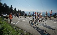 Tom Dumoulin (NLD) &amp; Bart De Clercq (BEL) climb side by side up to Annecy-Semnoz<br /> <br /> Tour de France 2013<br /> stage 20: Annecy to Annecy-Semnoz<br /> 125km