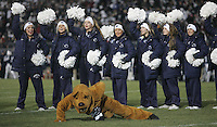 State College, PA - 11/26/2016:  The Nittany Lion mascot does one-handed pushups. #7 Penn State defeated Michigan State by a score of 45-12 to secure the Big Ten conference East Division championship on Senior Day, Saturday, November 26, 2016, at Beaver Stadium in State College, PA.<br /> <br /> Photos by Joe Rokita / JoeRokita.com