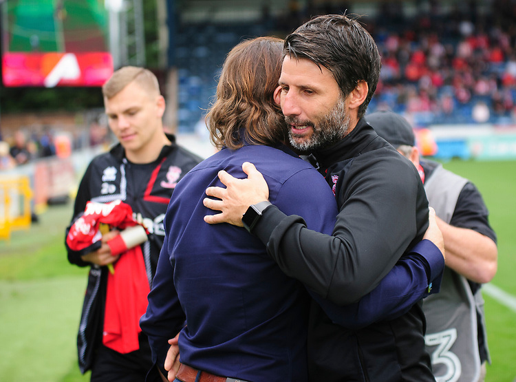 Lincoln City manager Danny Cowley greets Wycombe Wanderers manager Gareth Ainsworth before kick off<br /> <br /> Photographer Andrew Vaughan/CameraSport<br /> <br /> The EFL Sky Bet League One - Wycombe Wanderers v Lincoln City - Saturday 7th September 2019 - Adams Park - Wycombe<br /> <br /> World Copyright © 2019 CameraSport. All rights reserved. 43 Linden Ave. Countesthorpe. Leicester. England. LE8 5PG - Tel: +44 (0) 116 277 4147 - admin@camerasport.com - www.camerasport.com