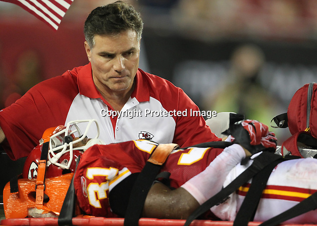 Kansas City Chief's cornerback Maurice Leggett was taken from the field on a stretcher after suffering an injury in the third quarter. The Buccaneers defeated the Chiefs 20-15 during an NFL preseason game Saturday, Aug. 21, 2010 in Tampa,Fla. (AP Photo/Margaret Bowles).