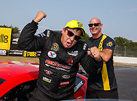 Sep 4, 2017; Clermont, IN, USA; NHRA pro stock driver Drew Skillman celebrates after winning the US Nationals at Lucas Oil Raceway. Mandatory Credit: Mark J. Rebilas-USA TODAY Sports