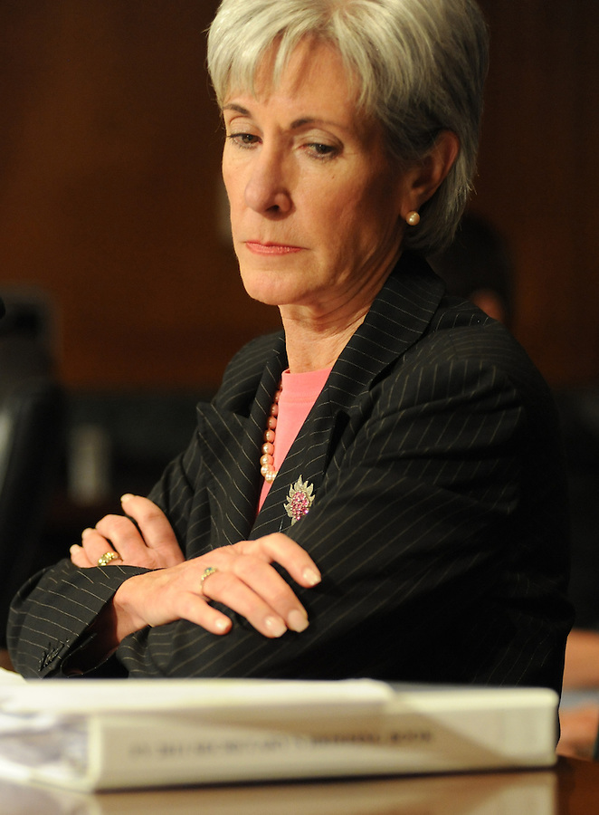 Washington, D.C.- Kathleen Sebelius, secretary of Health and Human Services, testifies before the Senate Finance Committee about President Obama's health care proposals on Feb. 3, 2009. (Amanda Lucidon) .