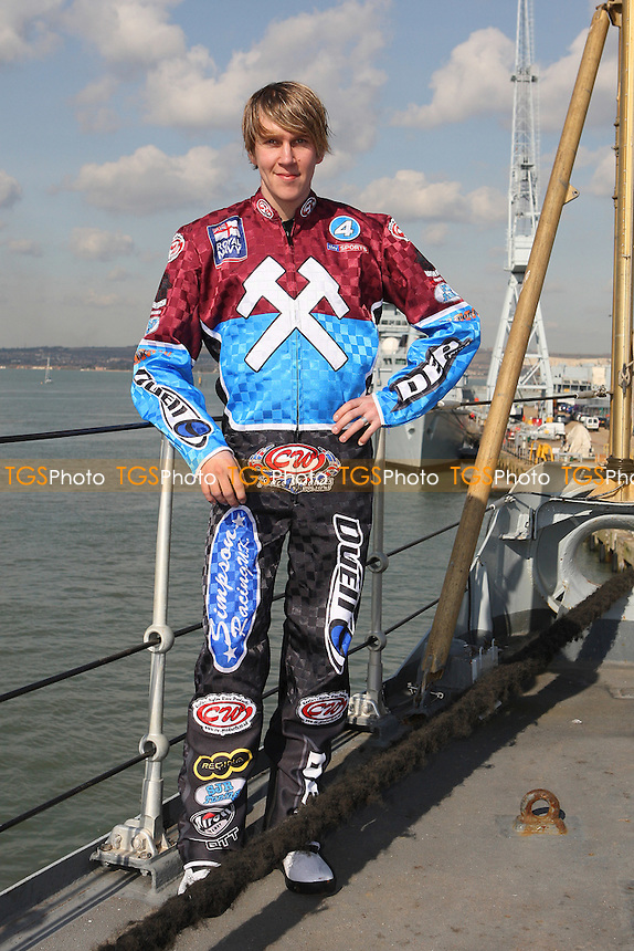Kauko Nieminen of Lakeside Hammers - Lakeside Hammers Speedway team announce sponsorship by the Royal Navy for the 2010 season aboard HMS Kent in Portsmouth Dockyard - 02/03/10 - MANDATORY CREDIT: Gavin Ellis/TGSPHOTO - Self billing applies where appropriate - Tel: 0845 094 6026