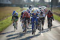 Tom Boonen (BEL/Etixx-QuickStep) leading a select group containing Peter Sagan (SVK/Tinkoff-Saxo) & Stig Broeckx (BEL/Lotto-Soudal) among others into the finale<br /> <br /> Kuurne-Brussel-Kuurne 2016