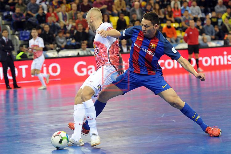 League LNFS 2016/2017 - Game 8.<br /> FC Barcelona Lassa vs ElPozo Murcia: 2-3.<br /> Miguelin vs Romulo.